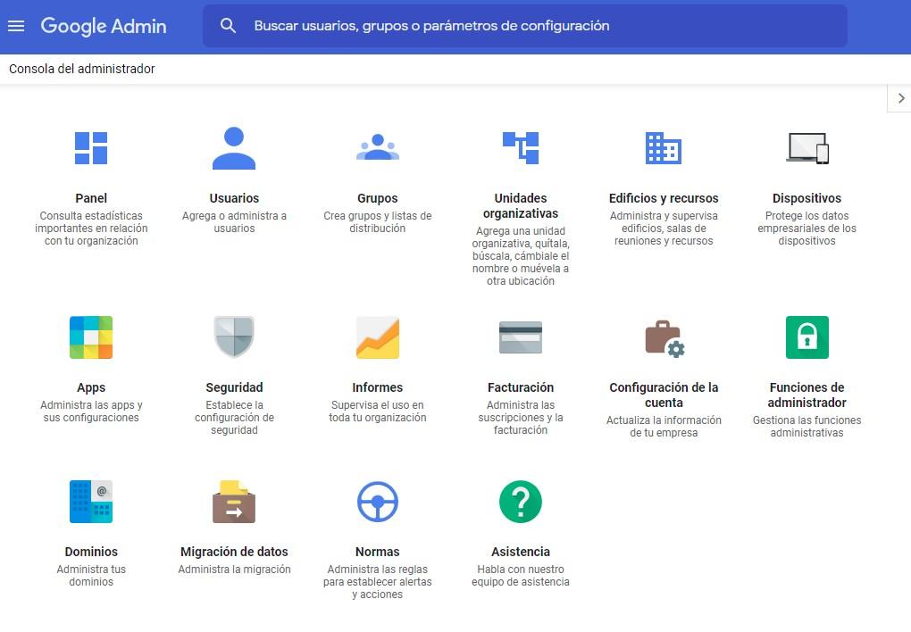 Consola de Administration de Google Workspace